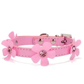 Halsband Roze met bloem - Maat XS