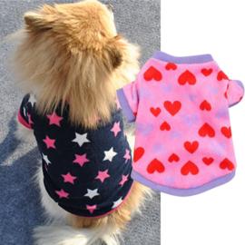 Honden fleece trui blauw met Roze Ster - Maat XS - Ruglengte 20 cm - In Voorraad