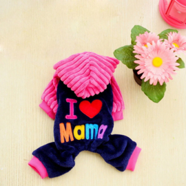 Hondenjumpsuit  I Love Mama of Papa Roze - Large - Ruglengte 38-42 cm - In Voorraad