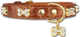 Pettarazzi  Hondenhalsband Artleather Glitterbones Bruin - IN VOORRAAD