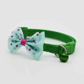 Puppy halsband strik - Nekomvang 22-32 cm -  Groen - In Voorraad