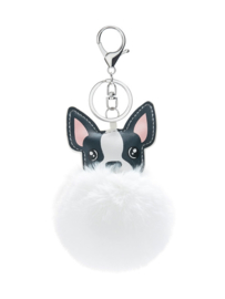 Sleutelhanger Chihuahua Pom Grijs Wit