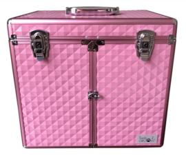 Trim koffer - Trolley  Aluminium Roze - Gratis Verzending