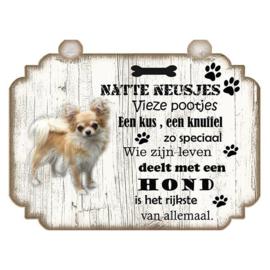 Hondenbordje: Chihuahua Langhaar 20 X 15 CM
