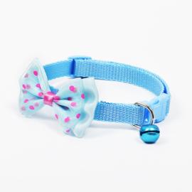 Puppy halsband strik - Nekomvang 22-32 cm -  Licht Blauw - In Voorraad