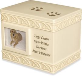 Honden Urn - Hondenpootjes met Fotolijstje - Gratis Verzending