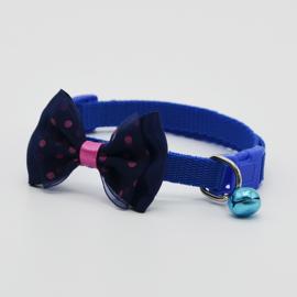 Puppy halsband strik - Nekomvang 22-32 cm - Donker Blauw - In Voorraad