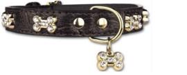 Pettarazzi  Hondenhalsband Artleather Glitterbones Zwart - IN VOORRAAD