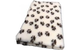 Vet Bed met bruine voet print creme - Latex Anti-Slip