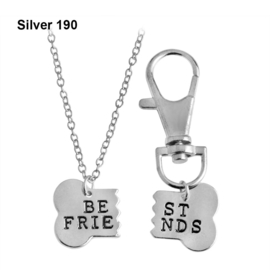 Halsketting & sleutelhanger Best Friend Silver