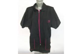 Trimshirt, model Unisex, kleur zwart met fuchsia roze kleur rits XL