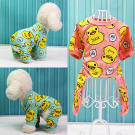 Honden Pajama Eend Blauw - Maat S - Ruglengte 18-20 cm - In Voorraad