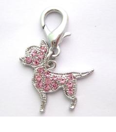 Chihuahua BedelRhinestone Roze - Halsband hanger