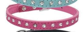 Puppy halsband Rhinestone Roze - Nekomvang 17-22 cm -MAAT XS - IN VOORRAAD