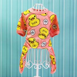 Honden Pajama Eend roze - Maat S - Ruglengte 18-20 cm - In Voorraad