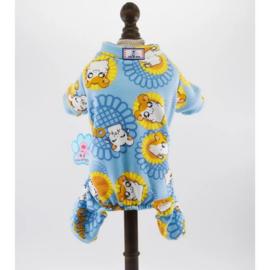 Honden Pajama  Blauw Zonnebloem - Maat XL - Ruglengte 39-40 cm - In Voorraad