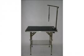 Verstelbare Trimtafel 55x95 van RVS inclusief trimarm, lus en mandje onder tafel