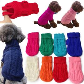 Honden trui Gebreid Kabel Rood XL - LAATSTE