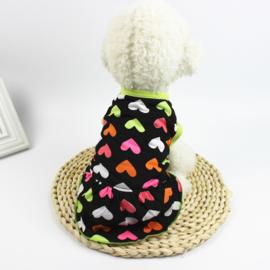 Hondenjurkje met hartjes - Medium -Ruglengte 32 cm - In Voorraad