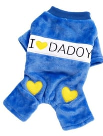 Honden jumpsuit I love Daddy Blauw Small - Ruglengte 20 cm - In Voorraad