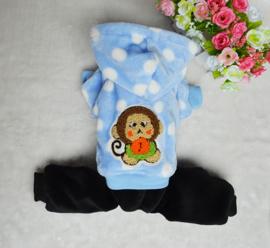 Hondenpakje Fleece Blauwe Aap - Maat XS