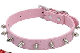 Hondenhalsband Spikes Roze- M - Nekomvang 27-34 cm - In Voorraad