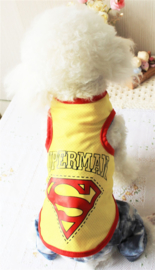Honden Shirt Cartoon Geel - Maat XL - Ruglengte 35 cm - In Voorraad