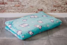 Hondenkussen Wellness Fleece Mintgroen met Muisjes 70x55 cm- IN VOORRAAD