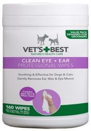 VETS BEST CLEAN EAR  EN EYE WIPES HOND 160 STUKS - TIJDELIJK GRATIS VERZENDING
