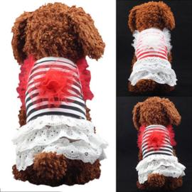 Hondenjurkje Zwart - Wit Gestreept -  Medium - Ruglengte 35 cm - In Voorraad