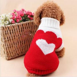Hondentrui Rood met hartje - Small - Ruglengte 23-25 cm - In Voorraad