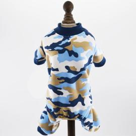 Honden pajama Blauw Camouflage - Large - Ruglengte 33 cm -In Voorraad