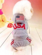 Hondenpak USA Grijs - Small - Ruglengte  18-20 cm - In Voorraad