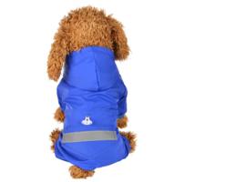 Honden regenpak blauw - Maat XL - Ruglengte 36 cm - In Voorraad