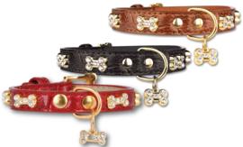Pettarazzi  Hondenhalsband Artleather Glitterbones Rood - IN VOORRAAD