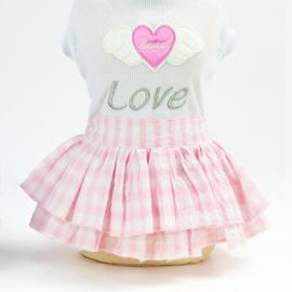 Honden jurkje Sweet Love Roze - Large - Ruglengte 30 cm - In Voorraad