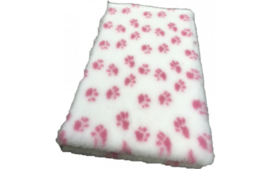 Vet bed Wit met roze  voetprint