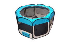 Opvouwbare PuppyRen Blauw  L 125 x  Br 125 x H 64 cm- Gratis Verzending