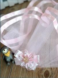 Elegante bruiloft sluier kant met strik  (Nr 1)