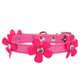 Halsband Roze Fuchsia  met bloem - Maat XS