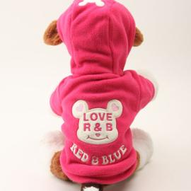 Hondenjas / Vest Smily Roze Fleece - Large -Ruglengte 30 cm -  In Voorraad