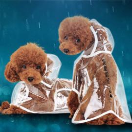 Honden regenponcho Wit - Medium - Ruglengte 27 cm - In Voorraad