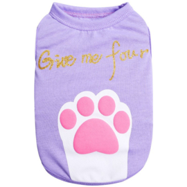 Honden Shirt Paars Paw - Small - Ruglengte 25 cm - In Voorraad