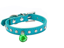Halsband Rhinestone Puppy bel Groen - Maat XS