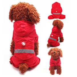 Honden regenpak Rood - Maat XS - Ruglengte 22 cm - In Voorraad