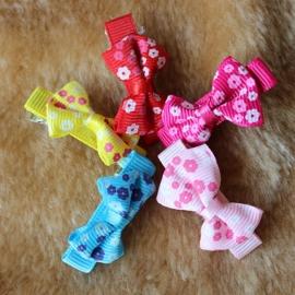Hondenhaarstrikjes met Bloemenprint 10 stuks