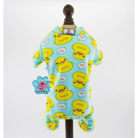Honden pyjama Blauw Eend - Medium - Ruglengte 30 cm - In Voorraad