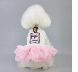 Honden jurkje met tutu Love Roze - Maat XS - Ruglengte 16 cm -In Voorraad