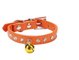 Halsband Rhinestone Puppy bel Orange - Maat XS - Nekomvang 20-26 cm - IN VOORRAAD