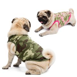 Hondenshirt Camouflage Groen - LARGE - Ruglengte 35 cm - In Voorraad